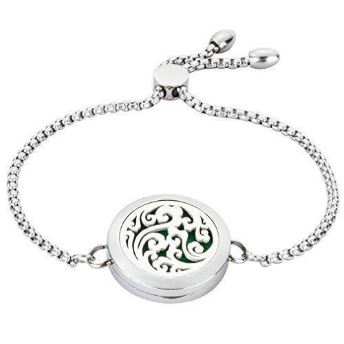 JAOYU Aromatherapie Armband Für Frauen Ätherisches Öl Diffusor Schmuck Kinder Edelstahl Medaillon Armreif - Perfektes Geschenk Für Mädchen Schwester