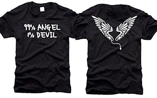 99% angelo/1% Teufel-99% Angel/1% Devil-T-Shirt-Taglia L