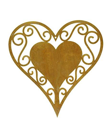 Cuore patinato in filigrana da appendere, altezza 18 cm, decorazione da appendere in metallo ruggine, per interni ed esterni
