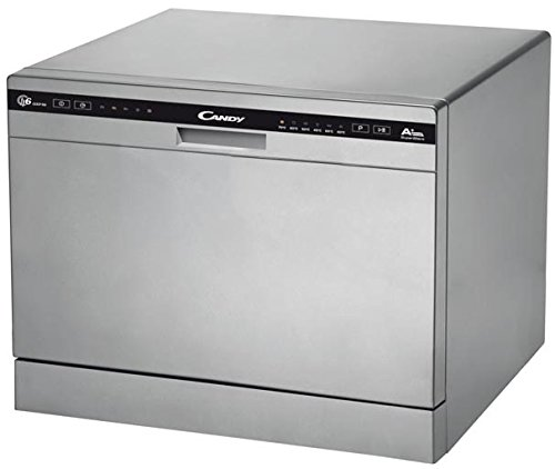 Candy CDCP 6/E-S Mini Lavavajillas, Altura 43,8cm, 6 Servicios, 6 Programas, 51dBA, Display Digital, Clase A+A, Color Silver