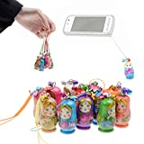 Pergrate 6 Parts / Set Matrioska Doll Hanging Decoration with Strap Wood Keychain Tote Bag Phone Accessories Kidstoy Gift