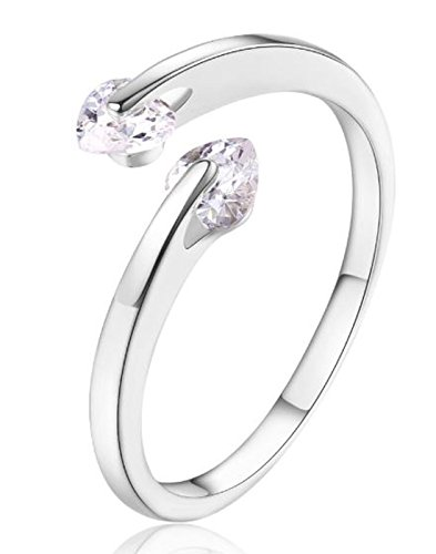 Karatcart Platinum Plated Heart Cut Elegant Austrian Crystal Adjustable Ring For Women