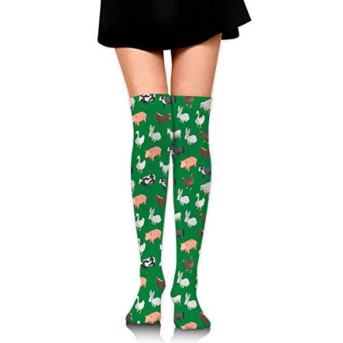 vbcnmbnv Cotton Thigh High Compression Socks, Farm Animals Pattern Soccer Tube Sock (Farm Animal Tubes)