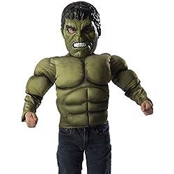 Avengers Pecho musculoso y máscara de Hulk Age of Ultron, para niños, talla 4-6 años (Rubie's 31481)