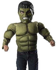 Avengers - Disfraz de Hulk, pecho musculoso y máscara para niños, talla 4-6 años (Rubie