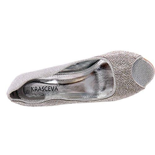 Unze Für Frauen Elli 'Dekoriert Peep Toe Schuhe - S30515 Silber