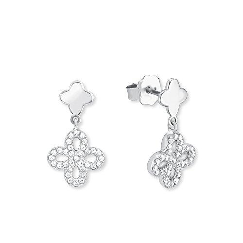 s.Oliver Damen-Ohrhänger Blume 925 Silber rhodiniert Zirkonia weiß 2015165