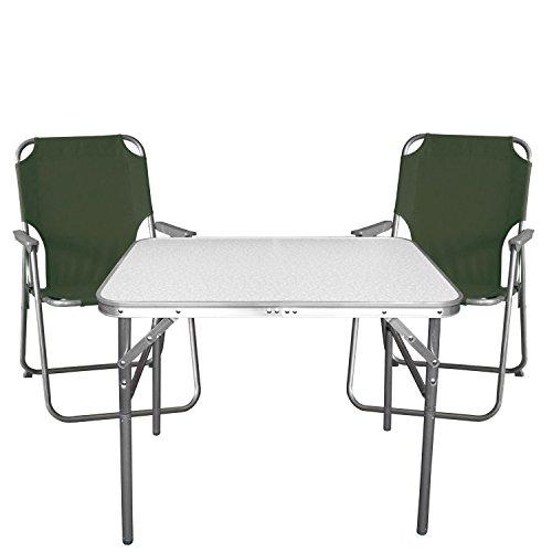 Gartenmöbel Strandmöbel Campingmöbel Set 3-teilig - Klapptisch, Aluminium, 55x75cm + 2x Campingstuhl, grün