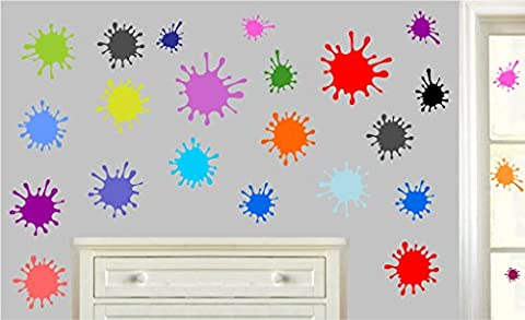 Colourful Paint Splats - Pack of 24 - Wall Art Vinyl Printed Stickers