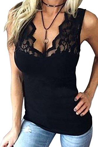 YOINS Oberteile Blusen Shirt Damen Langarmshirt Tops Sommer Crop Tops für Damen Sexy Spitze Einfarbig (V-ausschnitt Spitze Bluse)