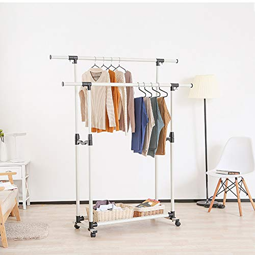 GOTOTOP Kleiderständer, doppelstöckig, verstellbar, zusammenklappbar, zum Aufrollen