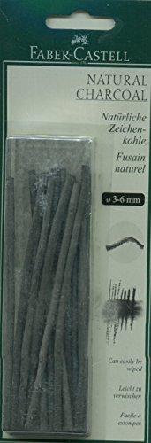 Estuche de carboncillos Faber-Castell FC129198, ramas de 3-6 mm, 20 ramitas