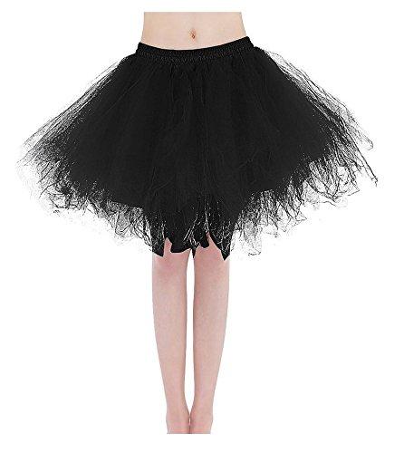 Bridal_Mall Damen Kurz Tutu Petticoat für Abendkleider Ball Partykleider Unterrock Unterkleider Schwarz