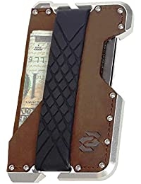 Cartera Tarjetero Minimalista de Aluminio y Cuero con Bloqueo RFID hasta 10 Tarjetas y Billetes. Cartera Delgada Compacta y Pequeña de Piel Genuina Crazy Horse. by Rango Project.