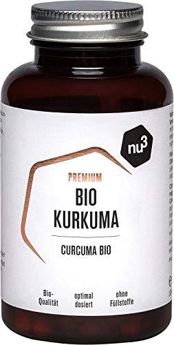 nu3 Premium Bio Kurkuma (Curcuma) – mit Piperin hochdosiert in veganen Kapseln – 200 Stück – enthält natürliches Curcumin & Piperin aus schwarzem Pfeffer-Extrakt – Pulver Laborgeprüft aus Deutschland