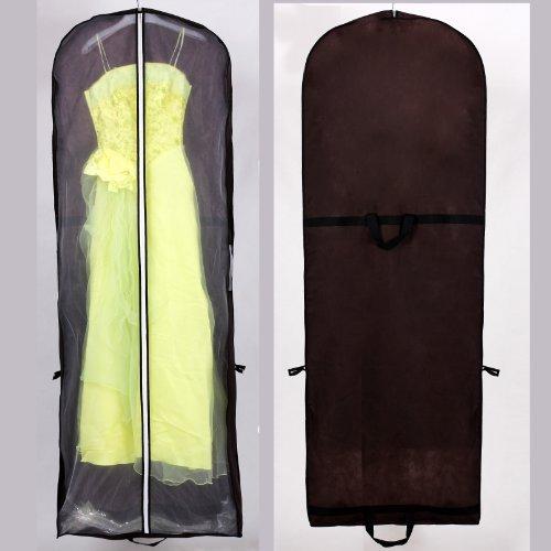 Atmungsaktiver Kleidersack Schutzhülle für Brautkleider / Abendkleider / Anzüge / Mäntel - ca. 180 cm - Reissverschluss - Zwei Taschen für Zubehörteile - Braun, KXB-101 brown