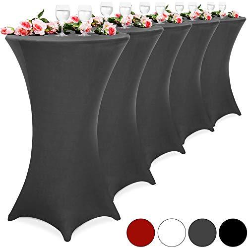 DEUBA 5er Set Stehtischhusse Tischhusse Husse Stehtisch Bistrotisch Tisch verschiedene Größen Ø 60/70/80 cm - Farbauswahl / (Ø 70 cm, weiß)