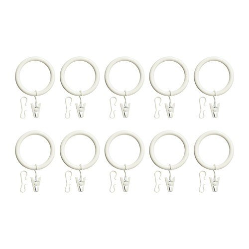 Ikea Portion Gardinenringe mit Klemme und Haken; in weiß; (47mm); 10 Stück