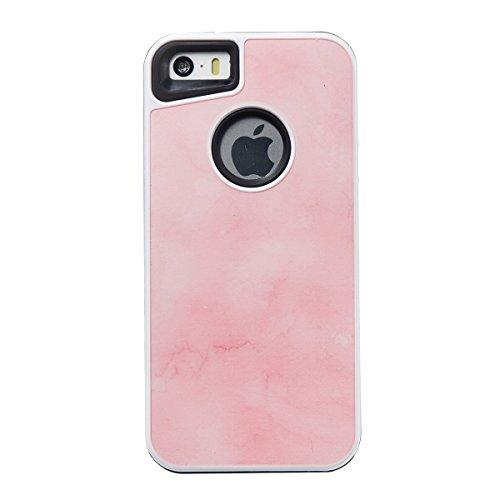 Étui en marbre iPhone 5s, Coque iPhone 5s,Lifetrut [Modèle de marbre] Pare-chocs Arrière Doux 2 en 1 Housse en Silicone en Caoutchouc TPU pour iPhone 5s 5 SE [Bleu ciel] E202-Rose