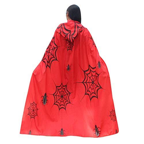 Weste Dracula Kostüm Cape & - Aiserkly Vampir Kapuzenumhang für Erwachsene Halloween Dracula Cosplay 140cm Umhang Kürbis Print Cape Schal Halloween Wrap Kostüm Rot Einheitsgröße