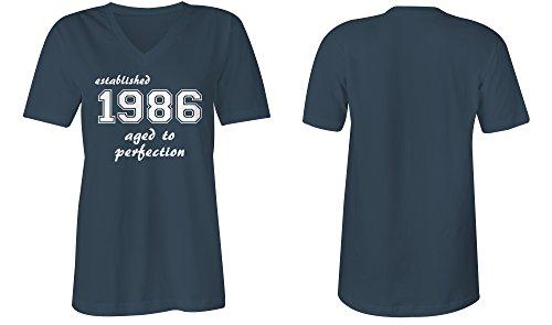 Established 1986 aged to perfection �?V-Neck T-Shirt Frauen-Damen �?hochwertig bedruckt mit lustigem Spruch �?Die perfekte Geschenk-Idee (03) dunkelblau