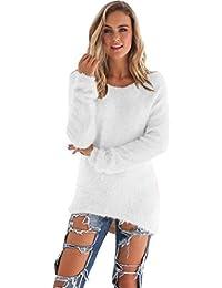 3c3e634c55ae Damen Pullover Winter Pulli Fleecepullover Langarm Shirt Bluse Oberteil  Long Sleeve Jumper Einfarbig Warme Strick Winterhemd