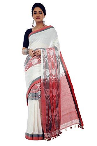 Avik Creations Women's Kasavu Handloom Khadi Cotton saree White Red Black