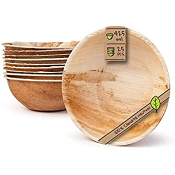 PACK OF 25 BOWLS15 CM Round Deep Bowl Eco-Friendly,Biodegradable,Compostable