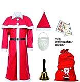 Weihnachtsmann Kostüm Santa Claus 3er Set, Komplett-Set, Kostüm Filzsack Glocke
