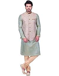 Manyavar Men's Beige Regular Fit Banded Collar Embroidered Nehru Jacket/Modi Jacket/Waistcoat, Large