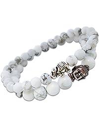 Young & Forever Crystal White D'vine Howlite Stones Lucky Elephant Buddha Beads Bracelets for Women Pack of 2