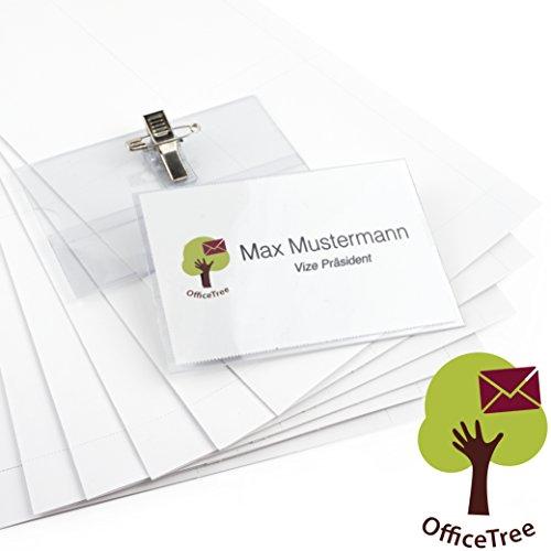 OfficeTree® 50 Premium Kunststoff-Namensschilder - für Visitenkarten bis 90x55 mm - transparent - mit Halte-Clip und Ansteck-Nadel