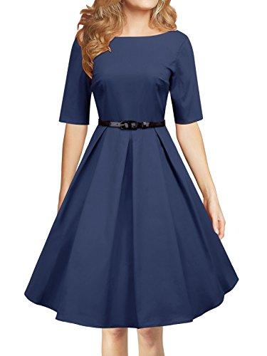 LUOUSE Audrey Hepburn 1/2 Sleeve 1950er Vintage Rockabilly Kleid,NavyBlue,M