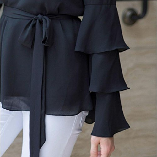 Chemise en mousseline de soie à épaules dénudées pour femmes Chemisier décontracté T-shirt à manches longues Noir