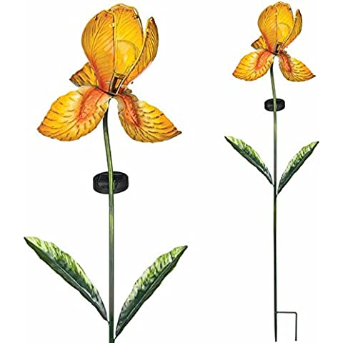 Luces solares - vidrio solar Iris Amarillo - Resistente a la intemperie, brilla en oscuro - Altura: 100 cm, Ø: 20 cm - Incluido célula solar y LED