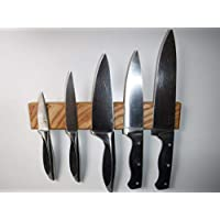 Magnetic, Ash, Wall-mounted 5-knife rack - solid wood, handmade in the UK