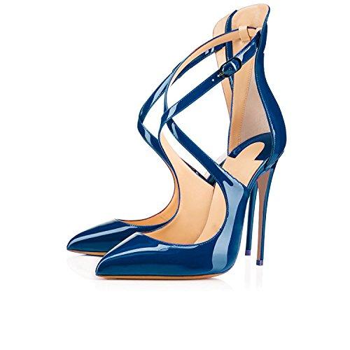 EDEFS Damen Knöchelriemchen Pumps,Spitze Zehen Stiletto Hohe Absatz Schuhe mit Schnalle Blau