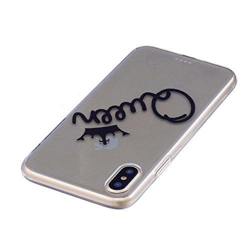 Coque iPhone X, MSK® Silicone Soft Clear TPU Case Cover Souple de Protection Coque Flexible Lisse Couverture Anti Rayure Anti Choc Bumper Coque Housse Etui Pour iPhone X - Amour Reine