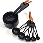 9-Piece Measuring Cups and Spoons Set, Black Stainless Steel, For Cooking and Baking, with Leather Strap