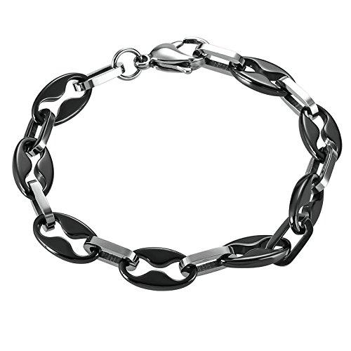 Herren Armband Edelstahl Handgelenk Armreif Nummer 8 Silber Schwarz 21.7cm