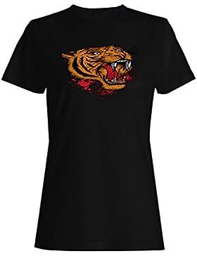 Tigre león y novedad cabeza nuevo arte camiseta de las mujeres oo62f