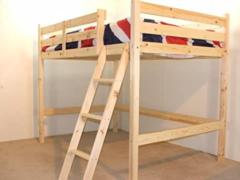 Double 4ft 6 Loft bunkbed - wooden High Sleeper - Includes 20cm thick QUILTED Mattress - FAST