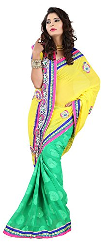Raghavjee Sarees Women's Brocade & Georgette Saree (Yellow)