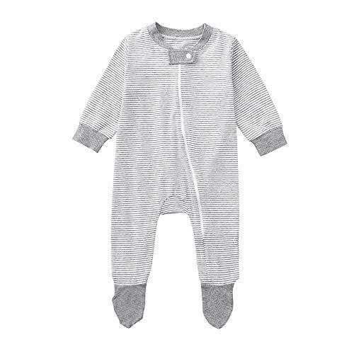 Rosennie Neugeborenes Baby Jungen Winter Strampler Overall Mädchen Babykleidung Streifen Spielanzug Jumpsuit Herbst Langarm Reißverschluss Verpackt Kleidung Pyjama Haushemd(Grau,80)