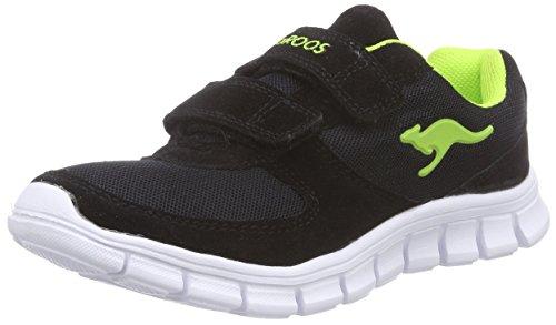KangaROOS BlueKids 2082, Sneakers basses garçon Noir (Black/Lime 580)