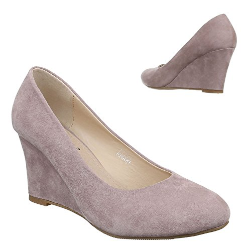 Ital-Design , chaussures compensées femme Grau Braun