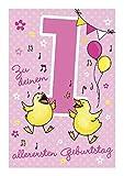 Depesche 5698.002 - Glückwunschkarte mit Musik, 1. Geburtstag, rosa