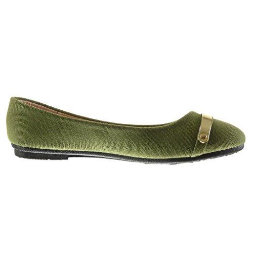 Angkorly CM 1 Scarpe metallico ballerina Moda piatto donna Verde slip tacco Tacco intrecciato on wwqaSp