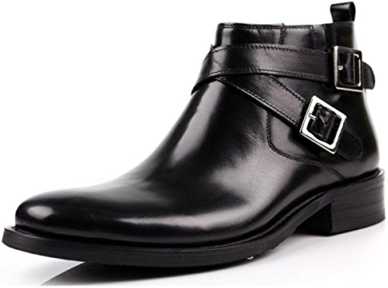 Botas De Hombre Hombres Botas Cuero Zapatos De Hombres Inglaterra Hebilla Alta Ayuda Vestido Zapatos De Negocios