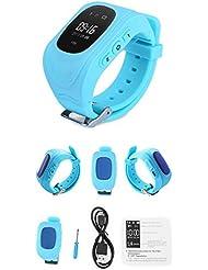 GPS localizador anti perdida niños con boton SOS reloj para niños GSM Teléfono Móvil App Para IOS y Android Smartwatch Pulsera de Alarma con ruta GPS azul de OPEN BUY
